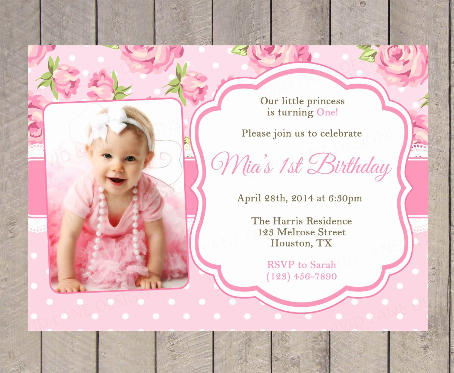 First Birthday Invitation Template Free Luxury Roses Birthday Invitation Pink Spring Flowers
