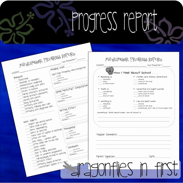 First Grade Progress Report Template Awesome Progress Reports for the Primary Grades