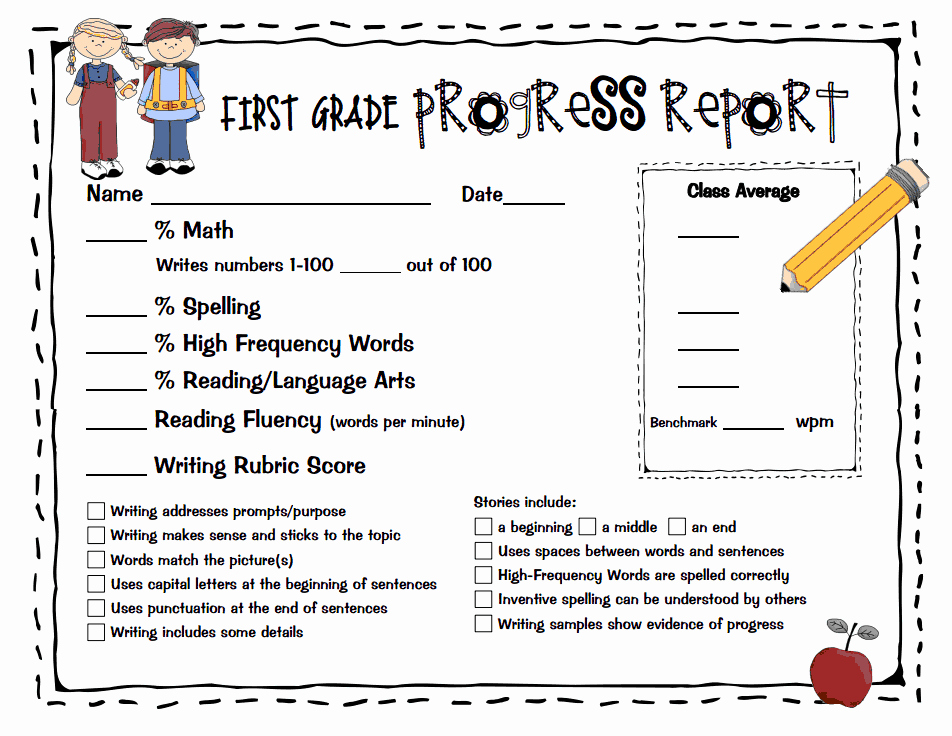 First Grade Progress Report Template Elegant First Grade Progress Report Fill In Generic Pdf