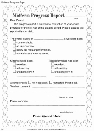 First Grade Progress Report Template Lovely Midterm Progress Report organització Aula