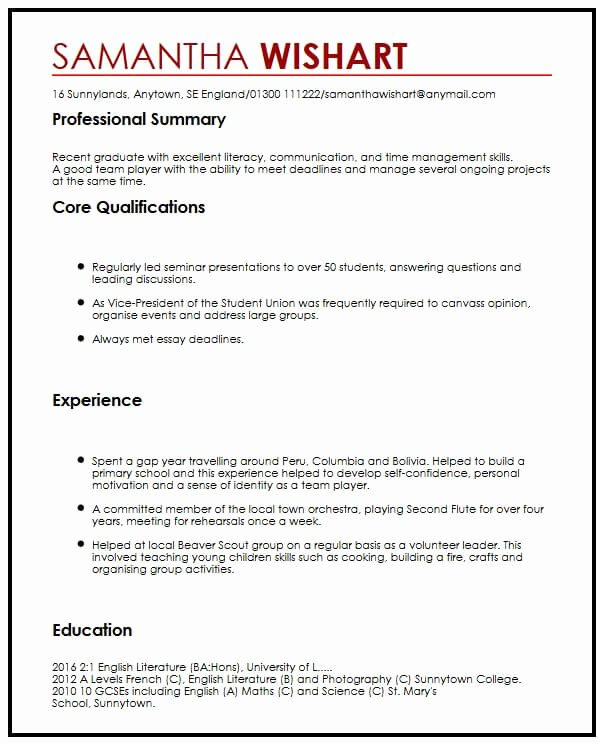 First Job Experience Essay Best Of Cv Sample with No Job Experience Myperfectcv