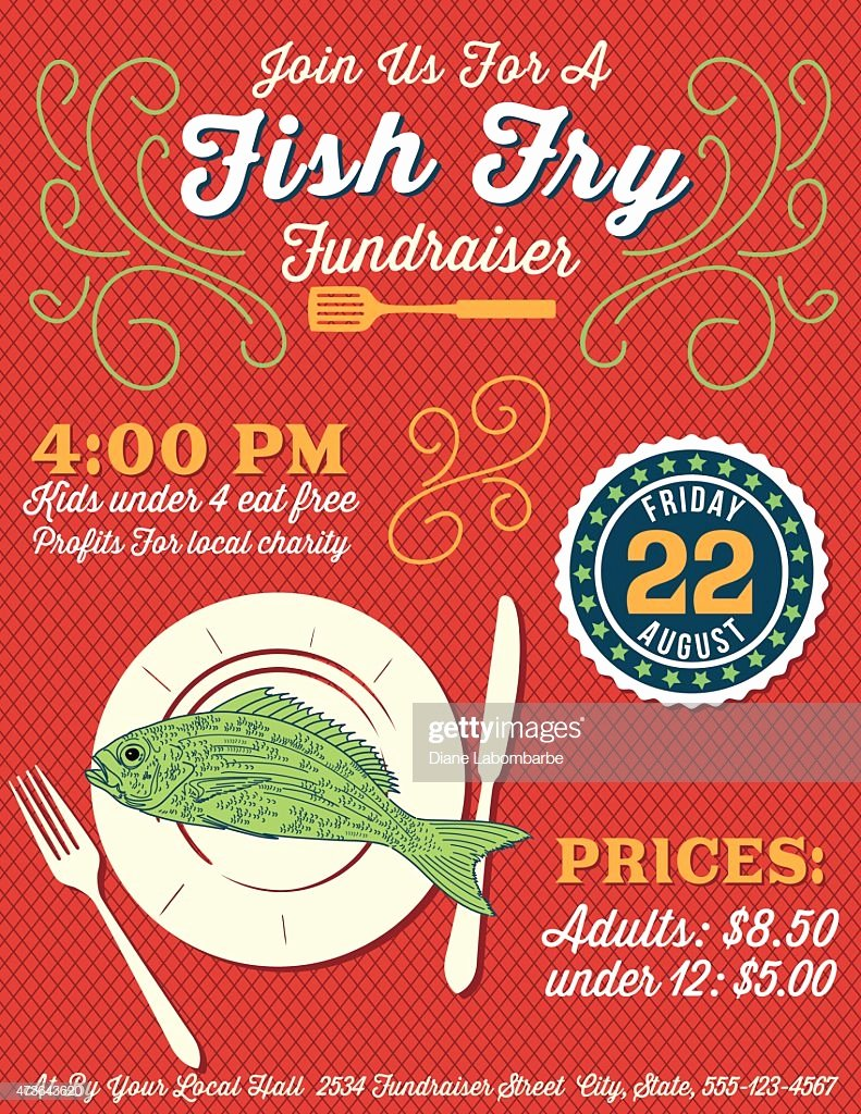 Fish Fry Flyer Template Awesome Fundraiser Fish Fry Poster Template Vector Art