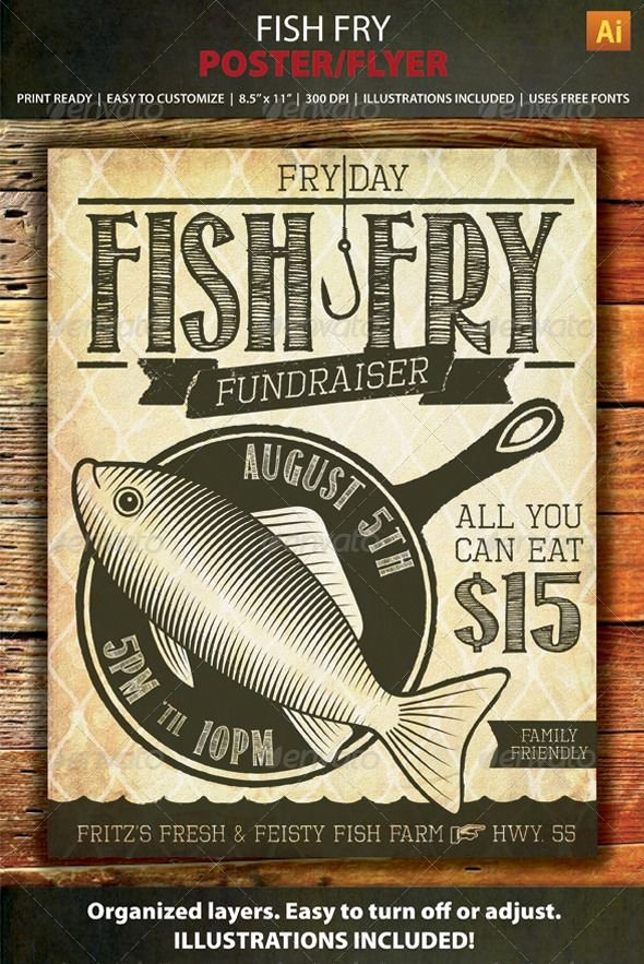 Fish Fry Flyer Template Beautiful Fish Fry event Fundraiser Poster Flyer or Ad