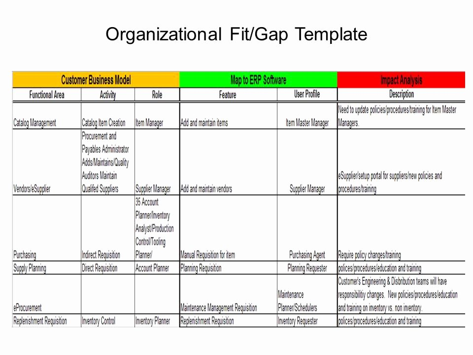 Fit Gap Analysis Template Excel Luxury Erp Project 101 organizational Fit Gap