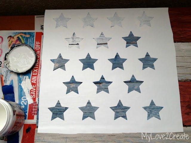 Flag Star Stencil Fresh Scrap Wood American Flag