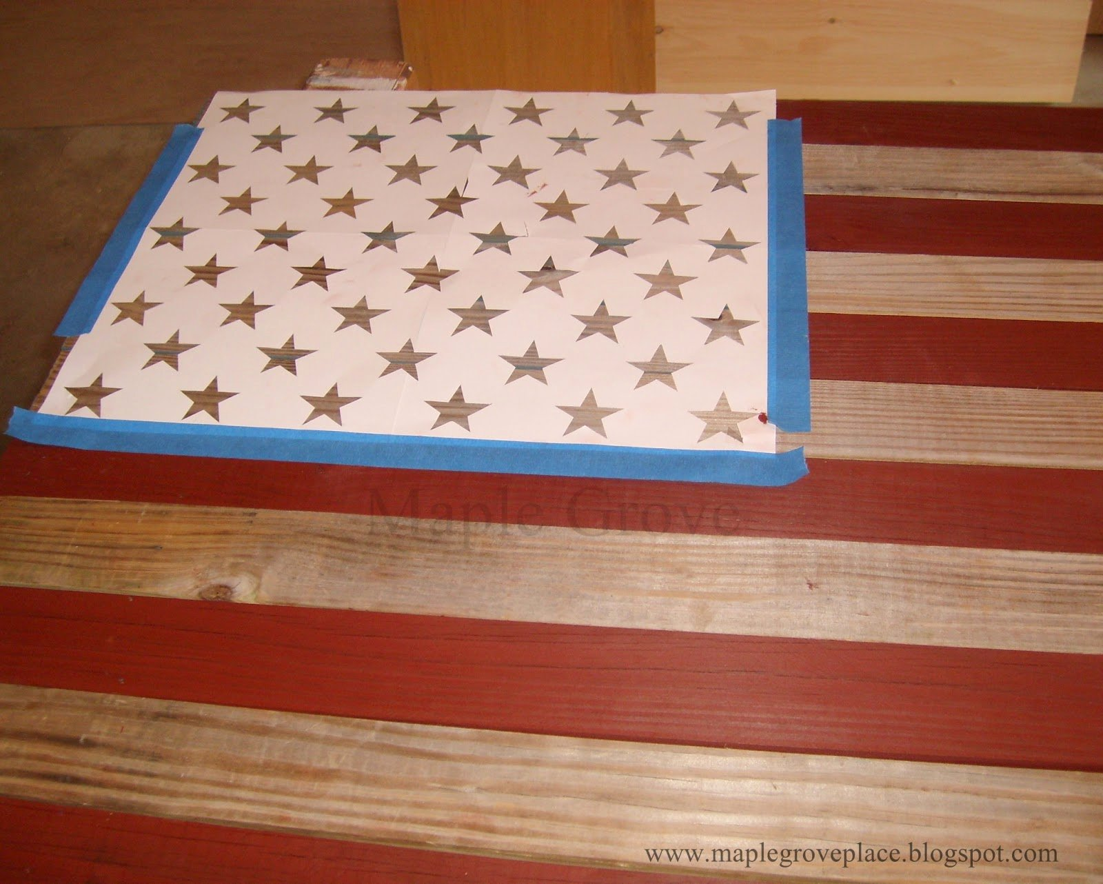 Flag Star Stencil Lovely Maple Grove How to Make A Picket Fence American Wall Flag