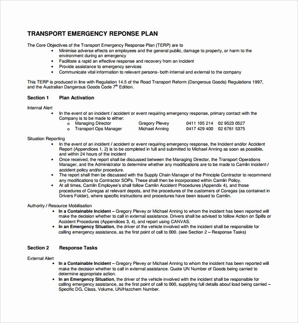 Flood Emergency Response Plan Template Inspirational 10 Emergency Response Plan Templates