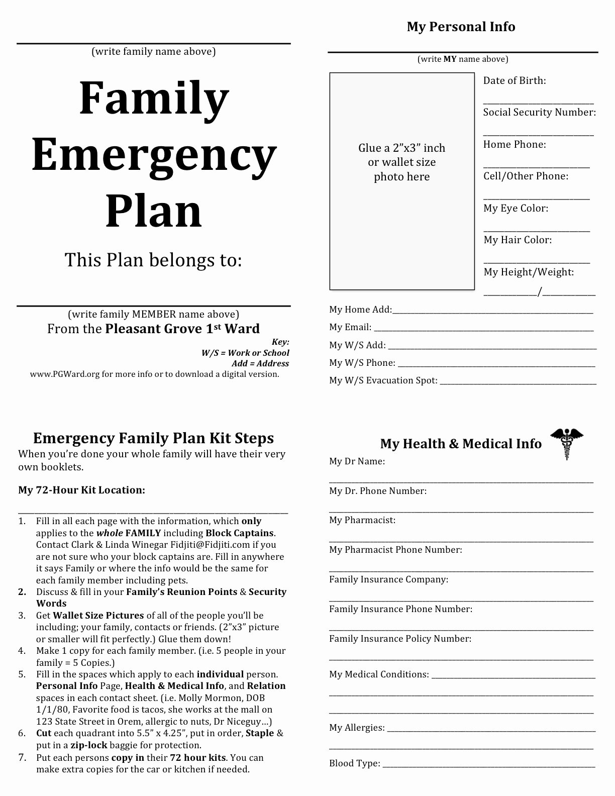 Flood Emergency Response Plan Template Inspirational Family Emergency Plan Printable Documents for Your