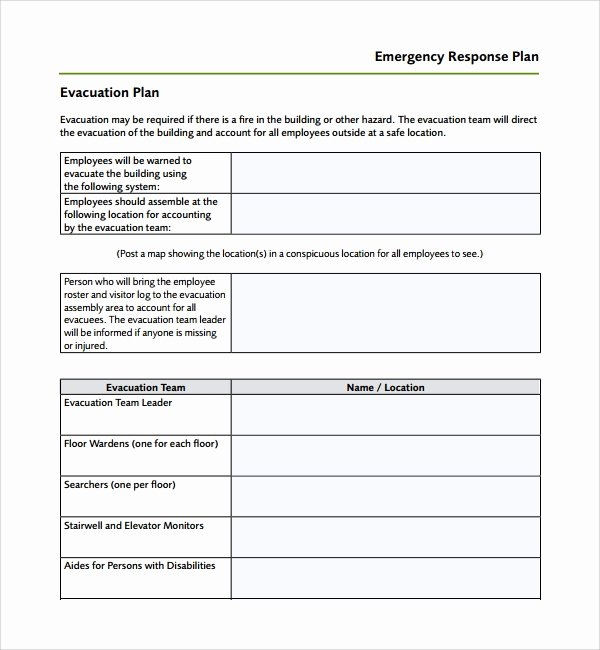 Flood Emergency Response Plan Template Luxury Sample Emergency Response Plan Template 9 Free