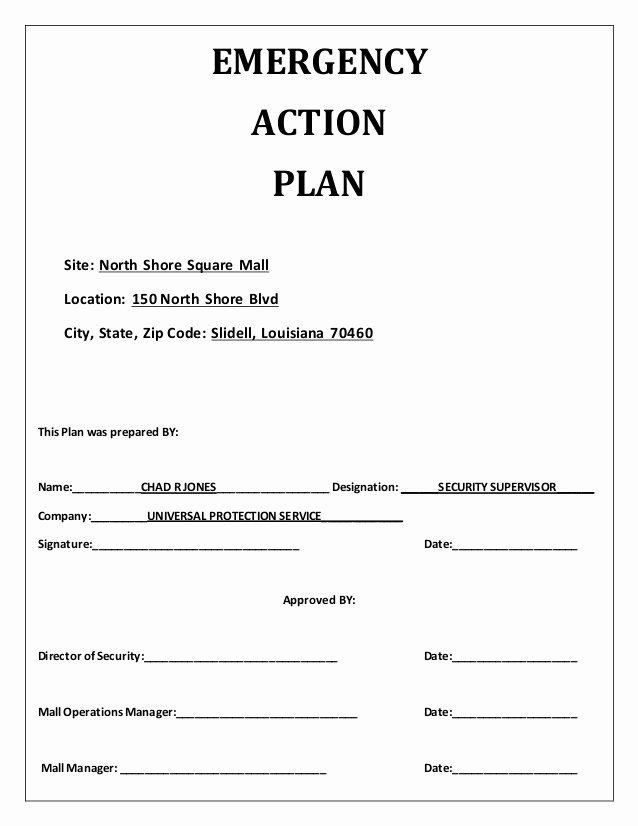 Flood Emergency Response Plan Template New Emergency Action Plan