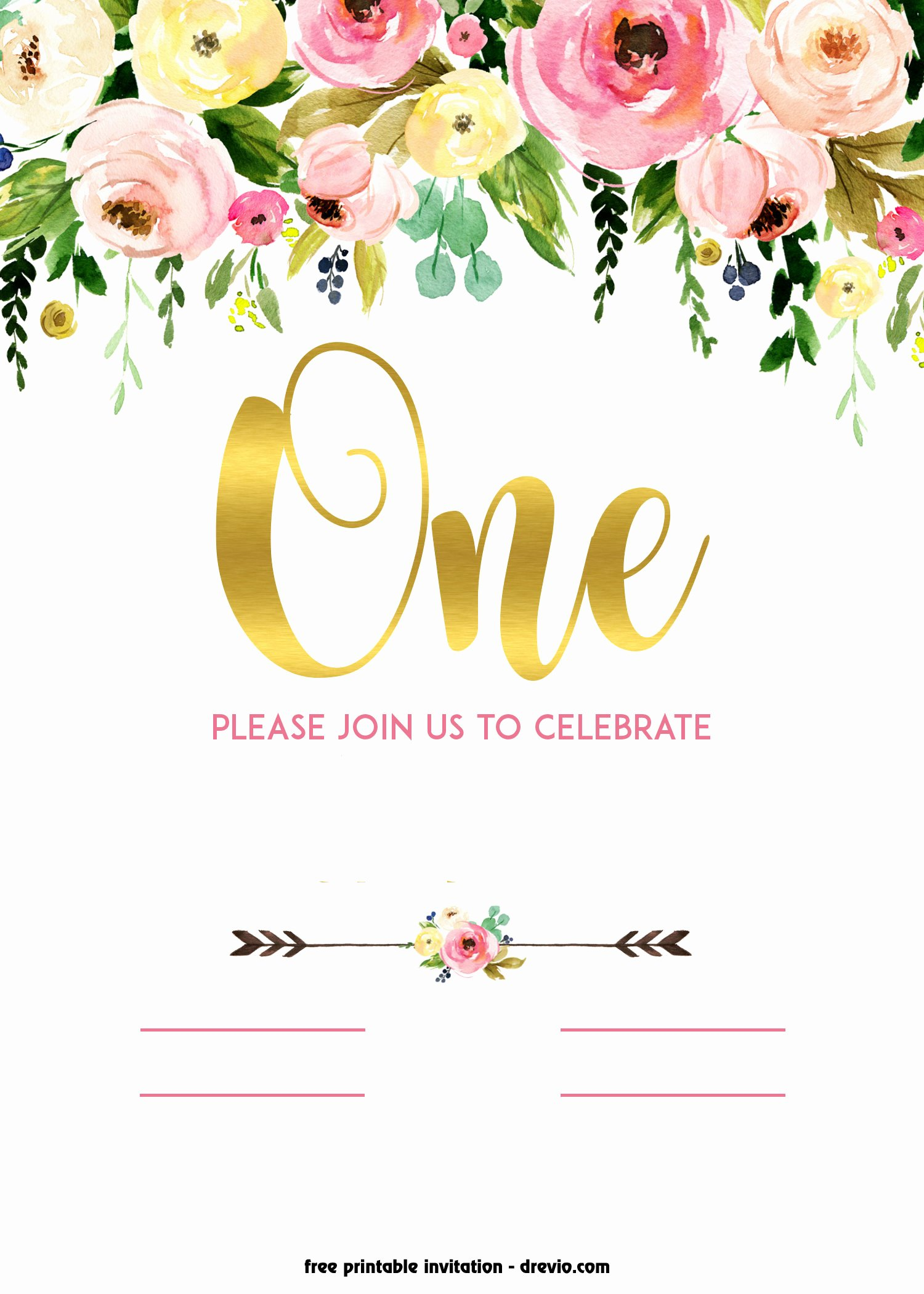 Floral Invitation Template Beautiful Free Printable 1st Birthday Invitation – Vintage Style