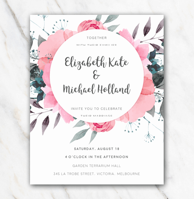 Floral Invitation Template Inspirational Pink Flowers Wedding Invitation Template In Word for Free