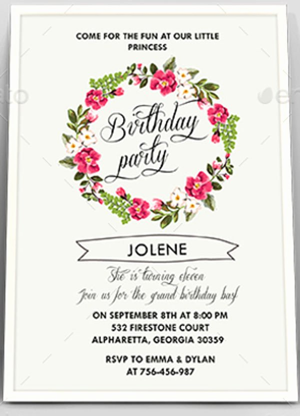 Floral Invitation Template Lovely 6 Floral Invitation Templates Free Psd Ai Vector Eps