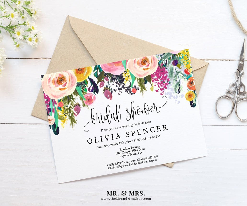 Floral Invitation Template Lovely Editable Watercolor Floral Bridal Shower Invitation Template