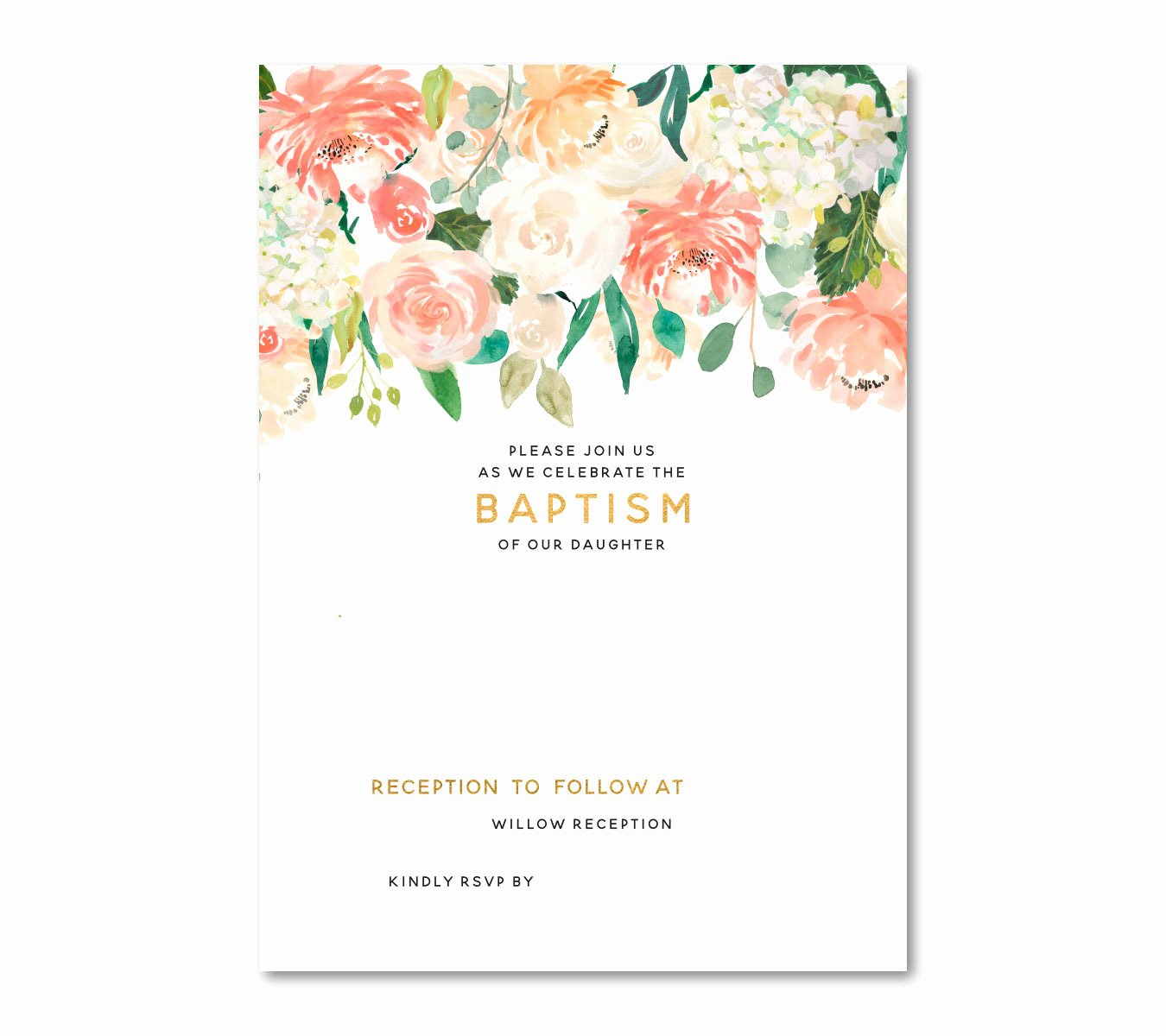 Floral Invitation Template Lovely Free Floral Baptism Invitation Template