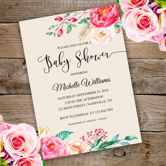 Floral Invitation Template Luxury Floral Baby Shower Invitation Template Edit with Adobe
