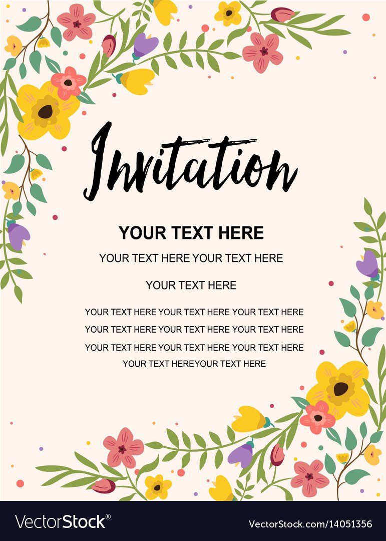 Floral Invitation Template Unique Vintage Floral Greeting Invitation Card Template Vector Image