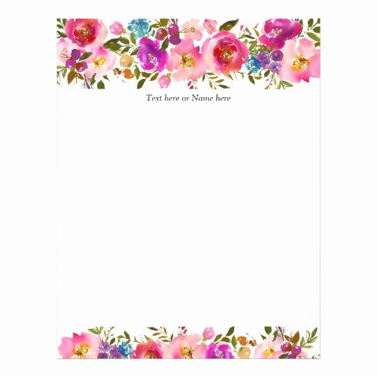 Floral Stationery Template Free Beautiful Rustic Modern Trendy Floral Watercolor Letterhead