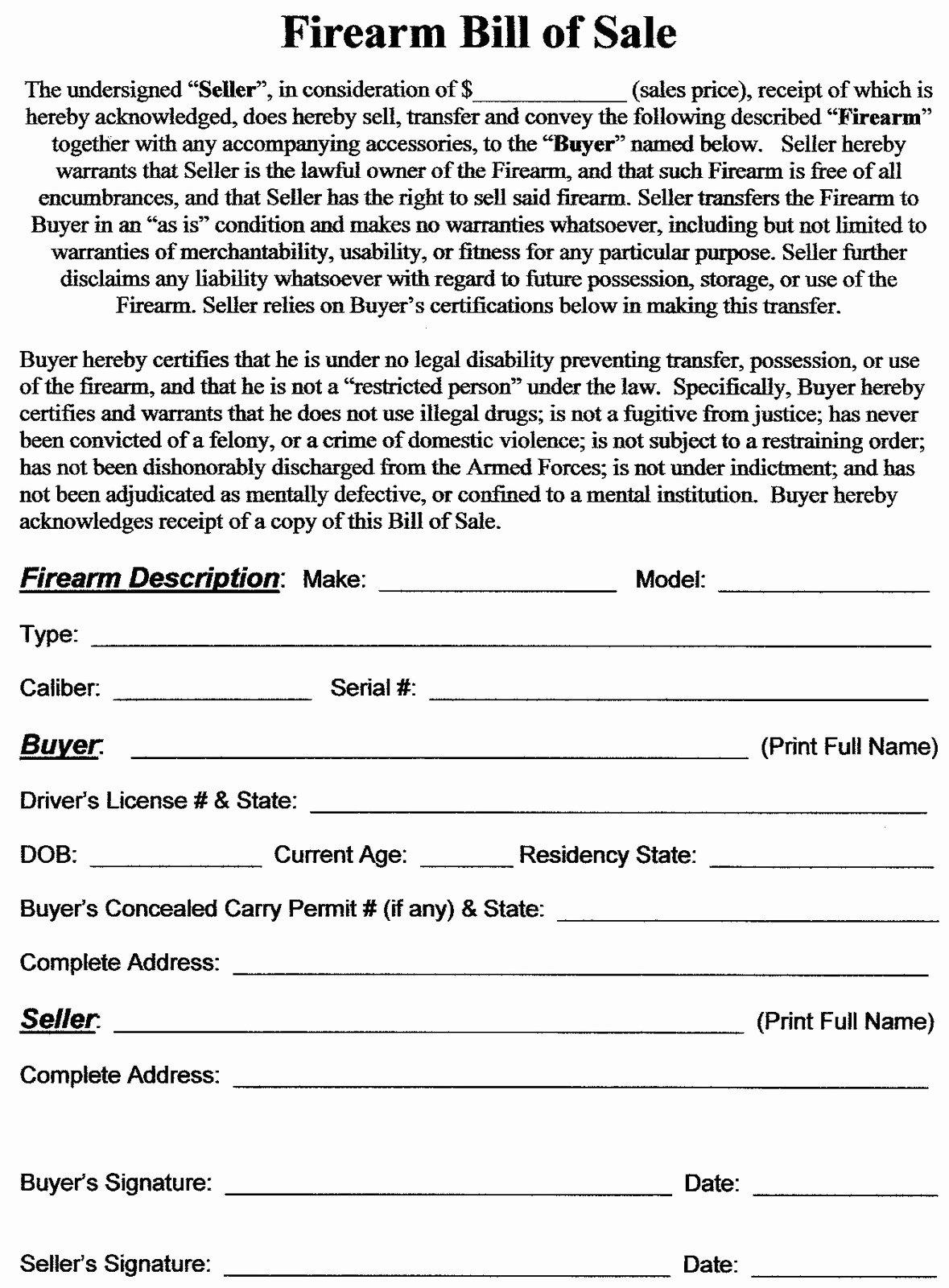 Florida Firearm Bill Of Sale Fresh Utah Concealed Carry Permit