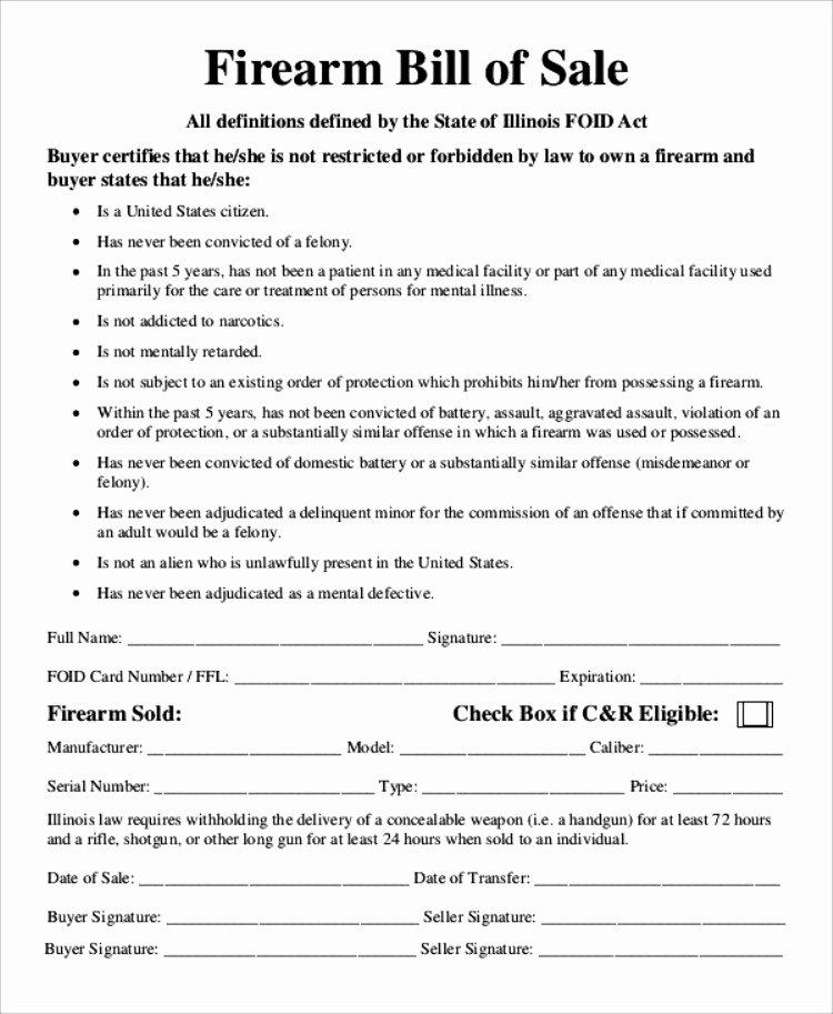 Florida Firearms Bill Of Sale Beautiful 13 Handgun Bill Of Sale
