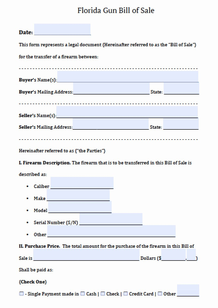 Florida Firearms Bill Of Sale Inspirational Free Florida Firearm Bill Of Sale form Pdf