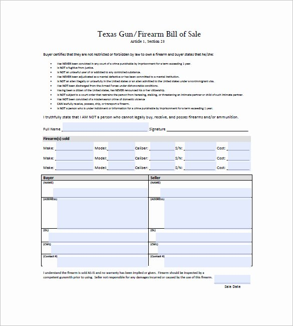 Florida Firearms Bill Of Sale New Gun Bill Of Sale Template – 10 Free Word Excel Pdf