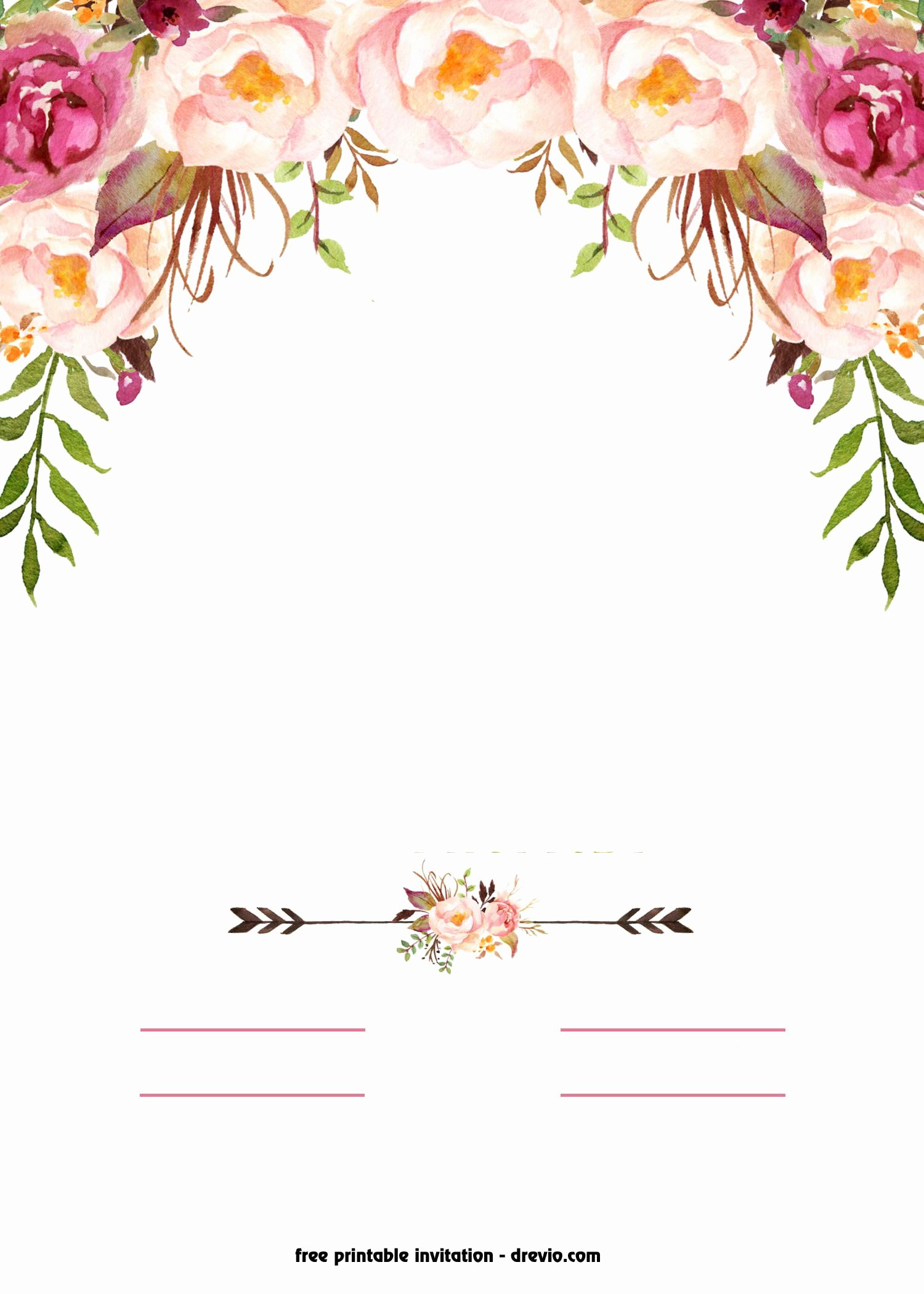 Flower Invitation Template Beautiful Free Printable Boho Chic Flower Baby Shower Invitation