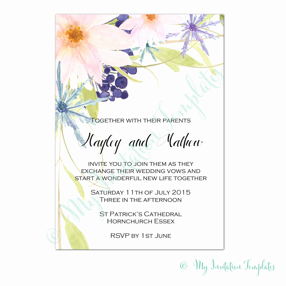 Flower Invitation Template Fresh Flower Invitation Templates