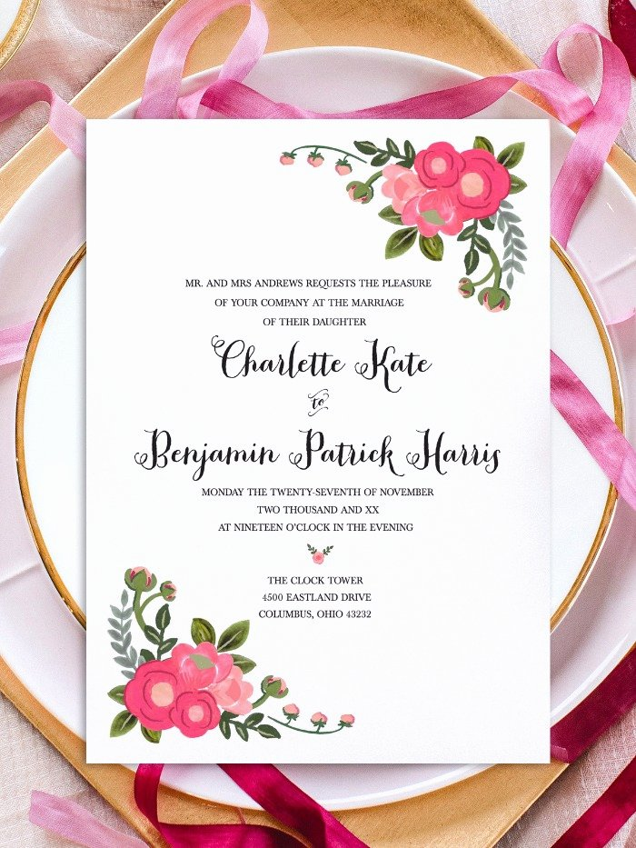 Flower Invitation Template Fresh Print Pink Flowers Free Printable Invitation Templates
