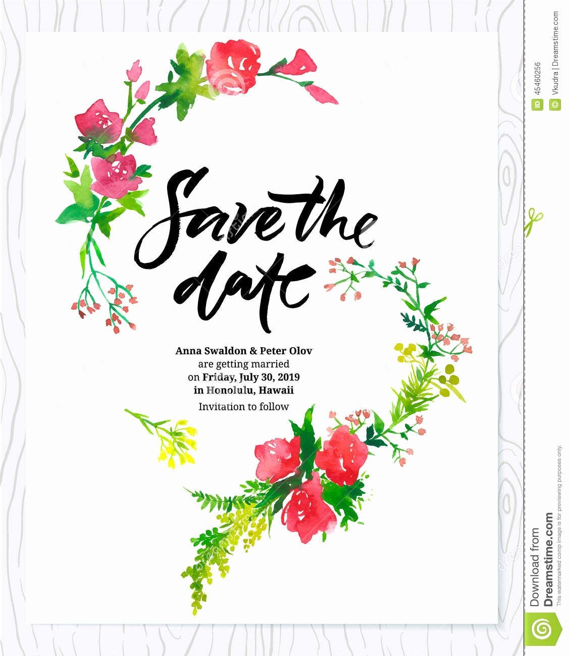 Flower Invitation Template Fresh Wedding Floral Watercolor Card Save the Date Stock Vector