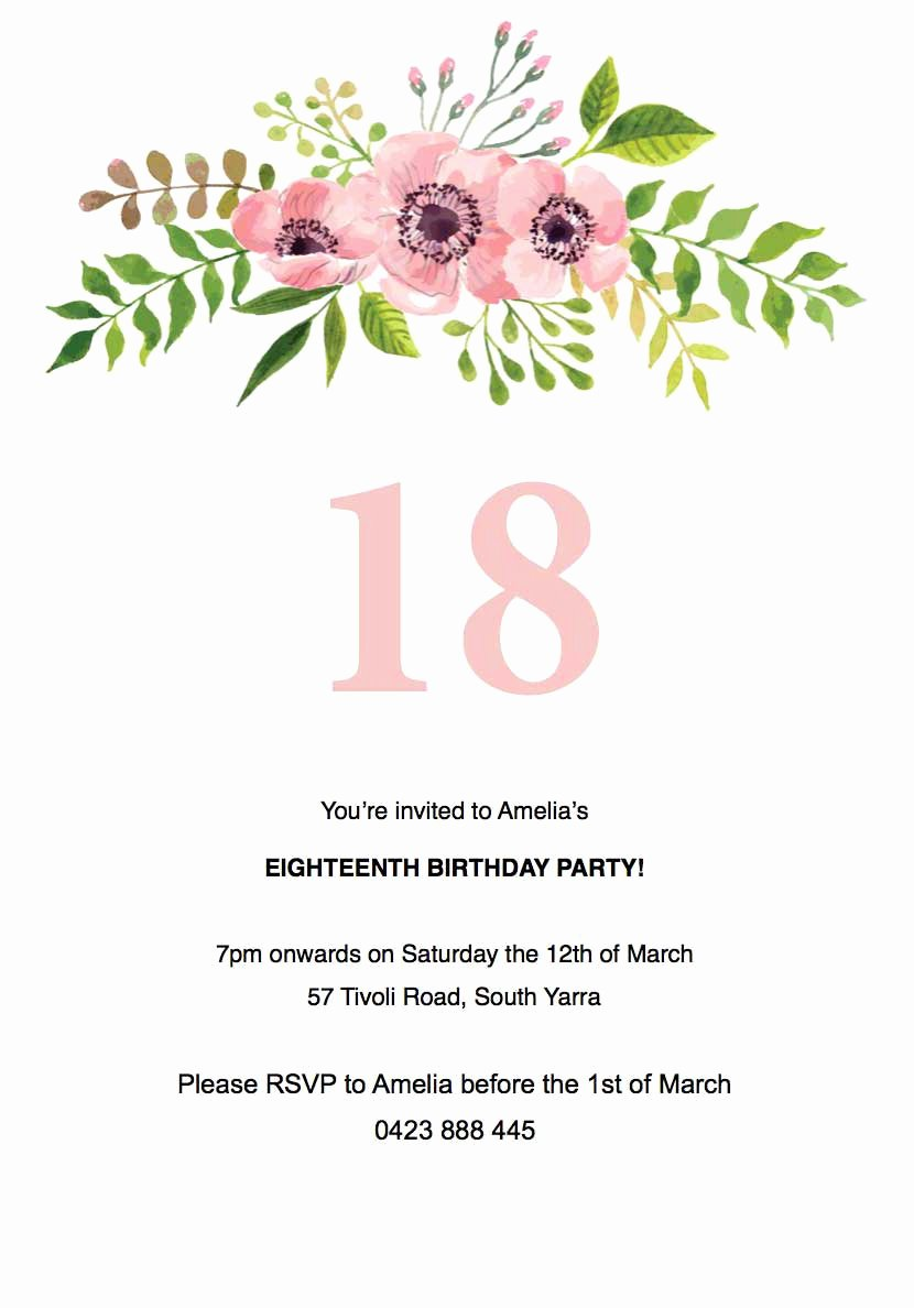 Flower Invitation Template Inspirational Birthday Party Invitations