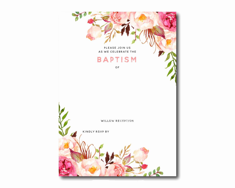 Flower Invitation Template Lovely Free Printable Baptism Floral Invitation Template