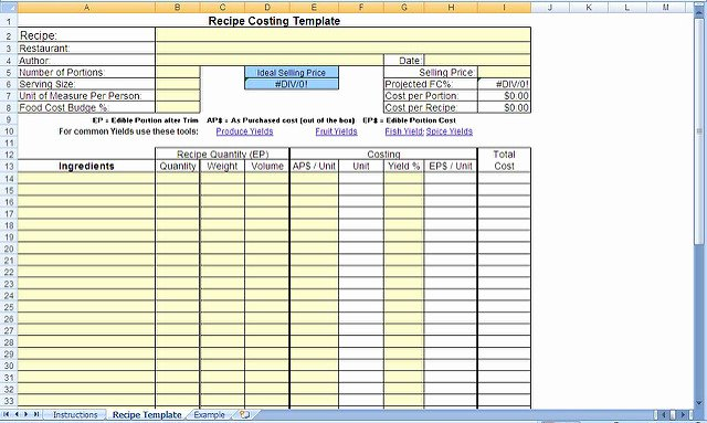 Food Cost Spreadsheet Excel Elegant 29 Of Recipe Cost Calculator Spreadsheet Template