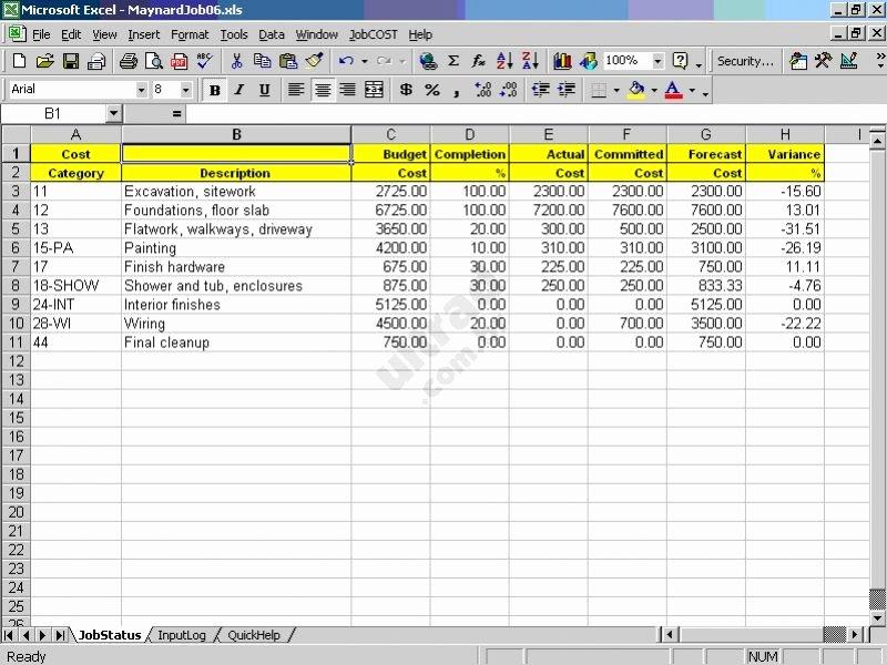Food Cost Spreadsheet Excel Elegant Jobcost Controller for Excel Download