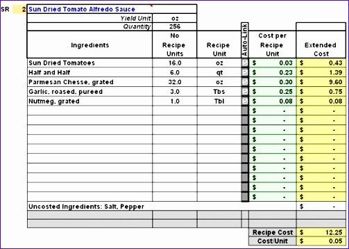 Food Cost Spreadsheet Excel Inspirational 10 Excel Recipe Card Template Exceltemplates
