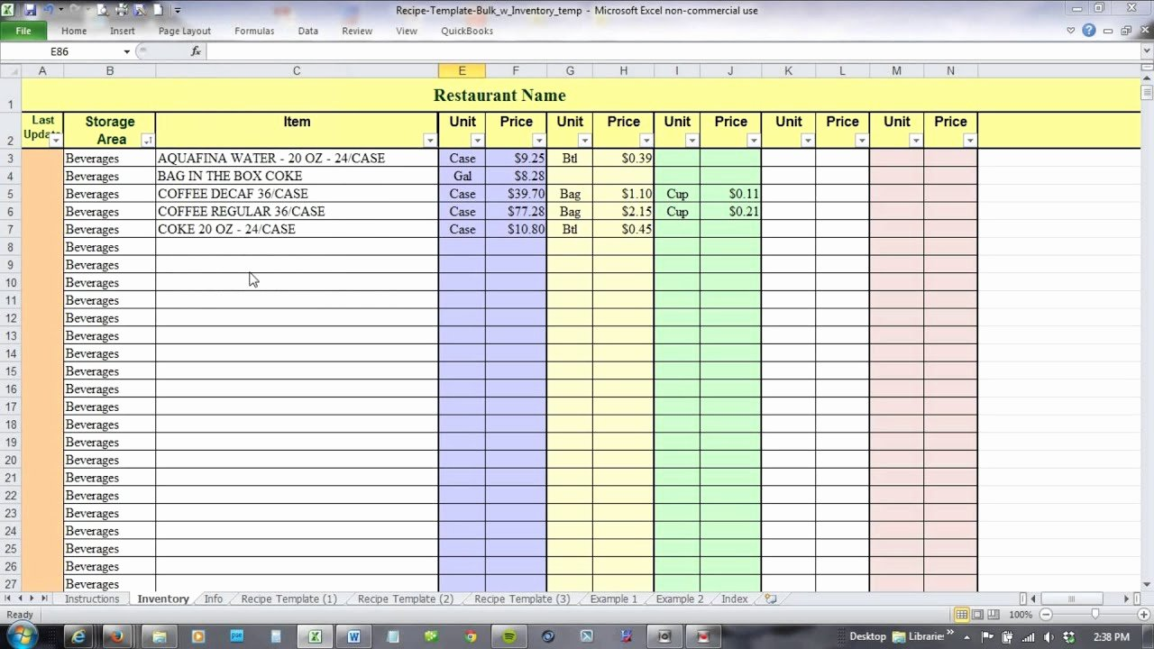 Food Cost Spreadsheet Excel Lovely Using Excel for Recipe Costing and Inventory Linking