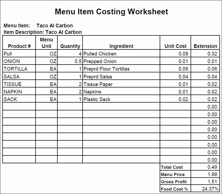 Food Cost Spreadsheet Excel Luxury Food Cost Spread Sheet Best Of How to Create A Food Cost