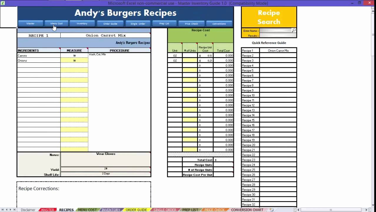 Food Cost Spreadsheet Excel Luxury Restaurant Excel How to Recipes Video