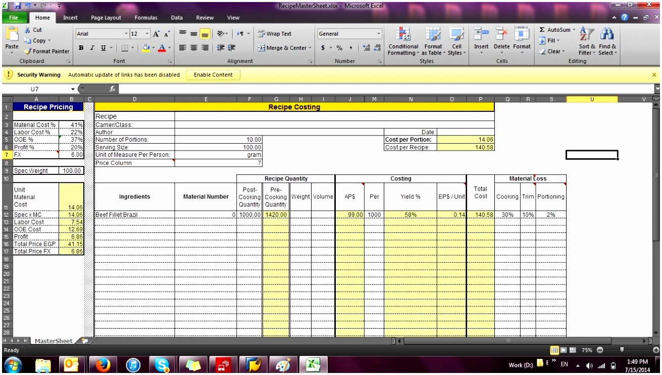 Food Cost Spreadsheet Excel Unique 8 Food Cost Excel Template Teaot