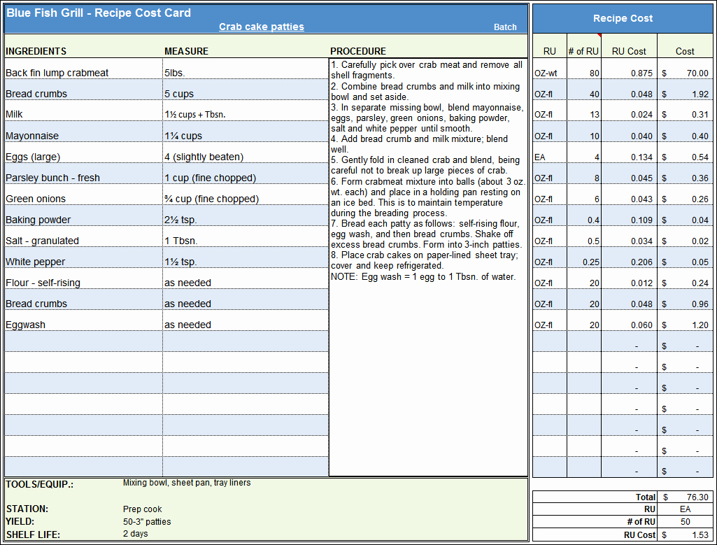Food Costing Template Awesome Menu & Recipe Cost Spreadsheet Template