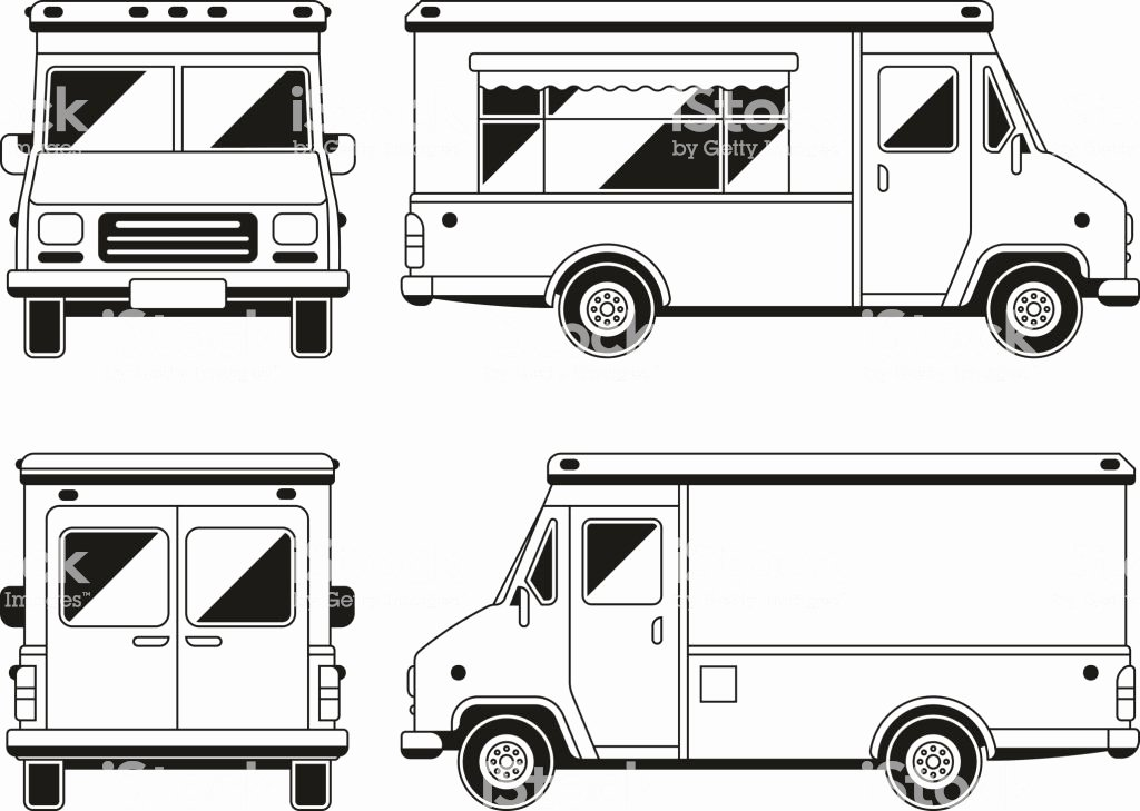 Food Truck Layout Template Awesome Blank Mercial Food Truck In Different Points View