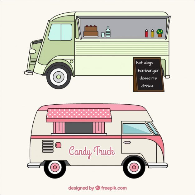 Food Truck Layout Template Elegant Sketches Of Food Trucks In Vintage Style Vector