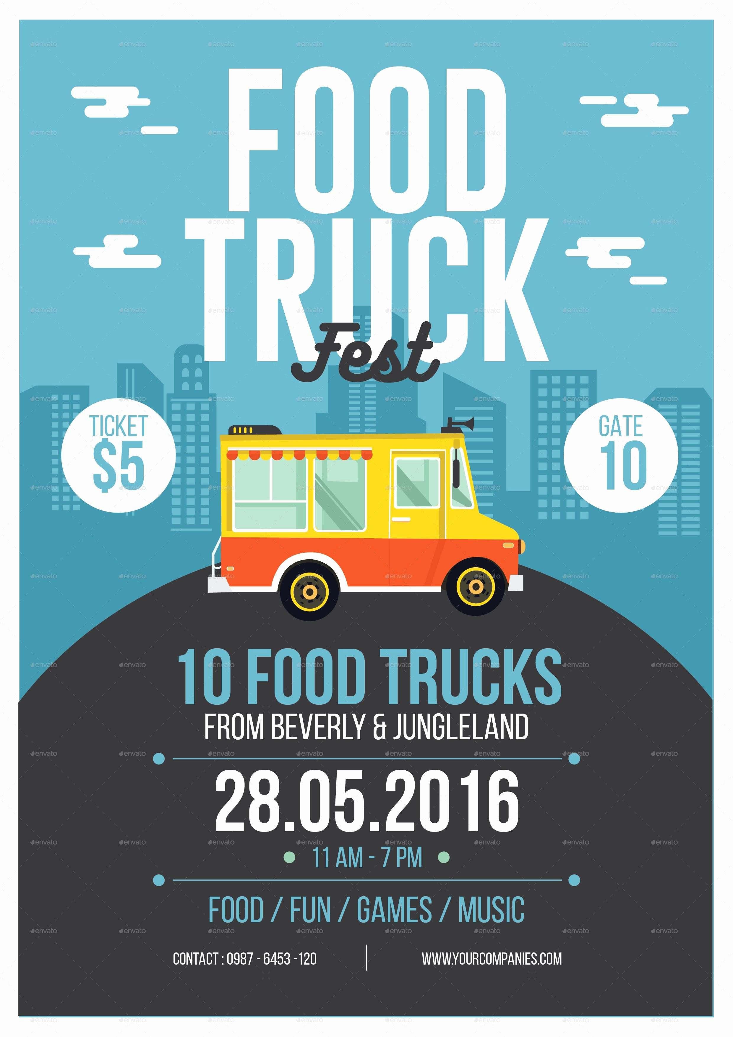 Food Truck Layout Template New Food Truck Flyer Art