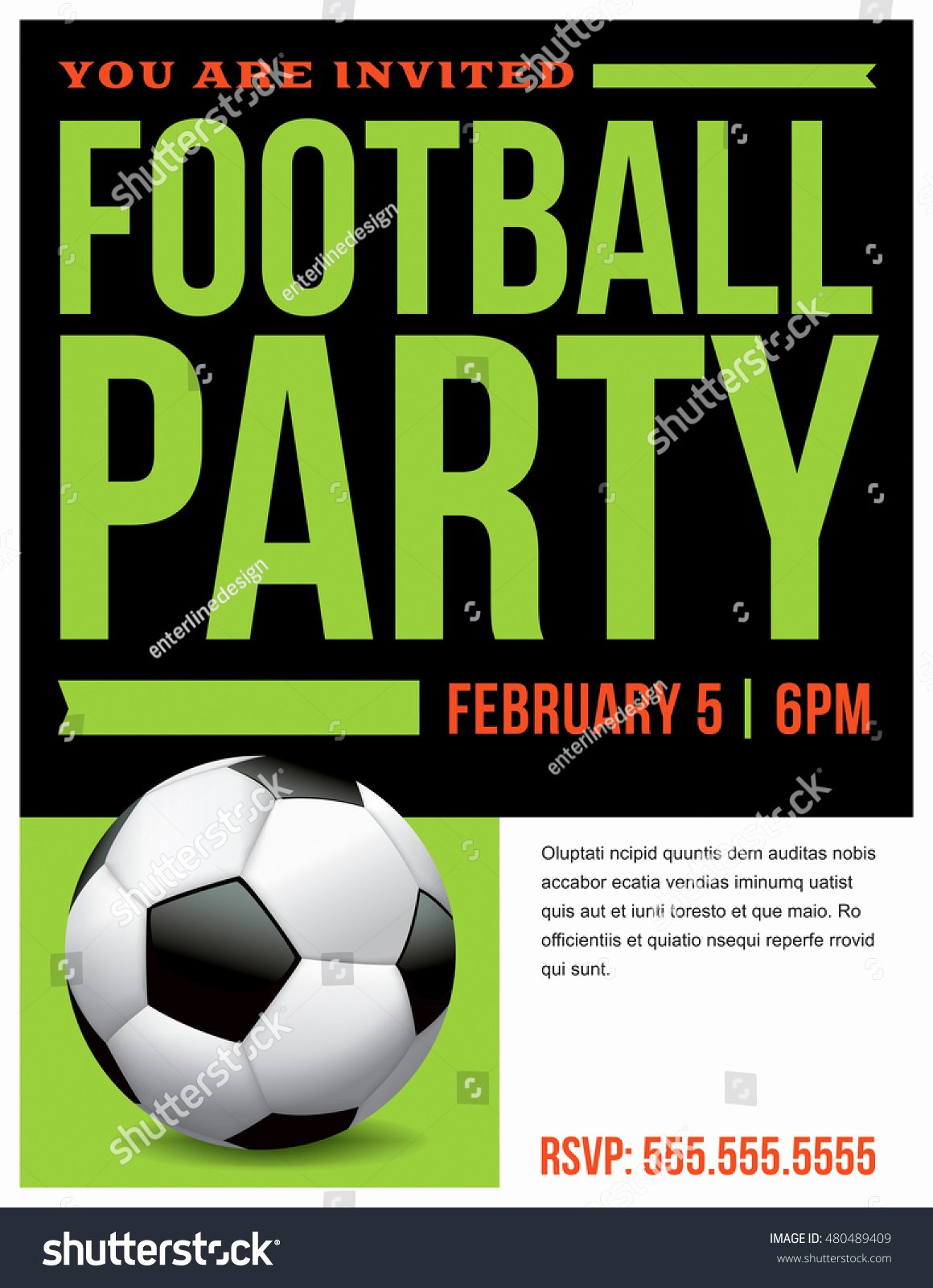 Football Party Invitation Template Inspirational Flyer soccer Football Party Invitation Template Stock