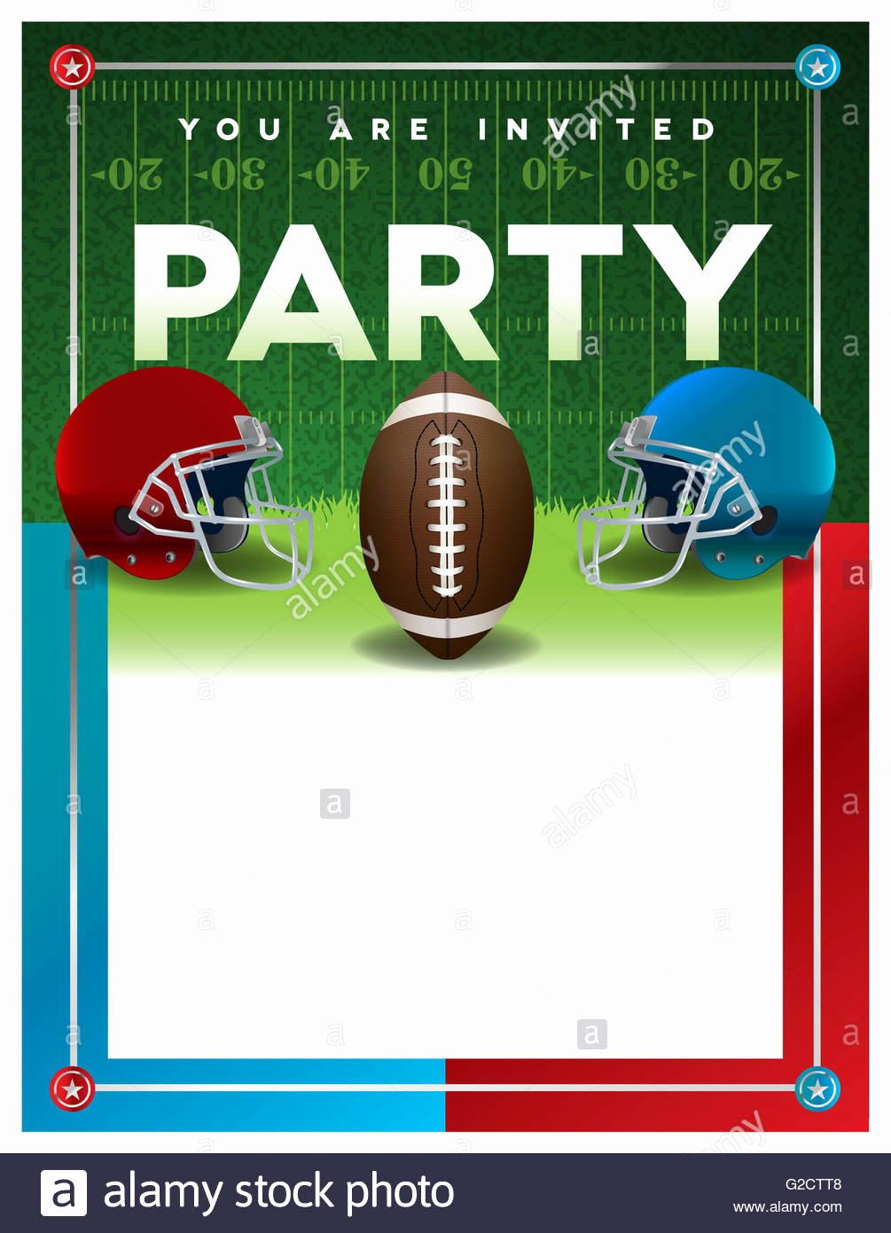 Football Party Invitation Template Lovely American Football Sport Invitation Poster Stock S