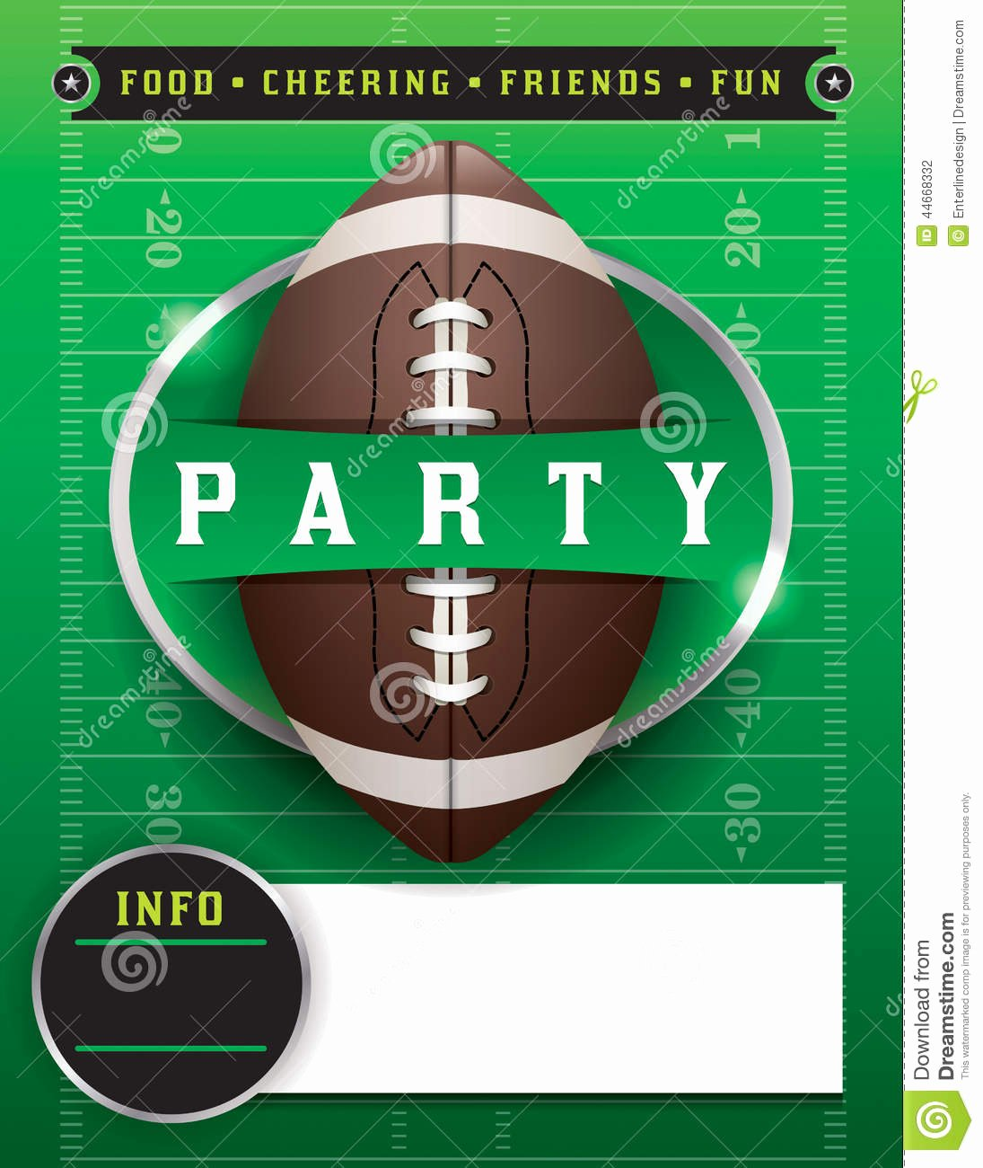Football Party Invitation Template Luxury American Football Party Template Illustration Stock Vector