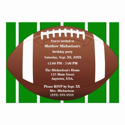 Football Party Invitation Template Luxury Football with Green Football Field Birthday Party 5x7