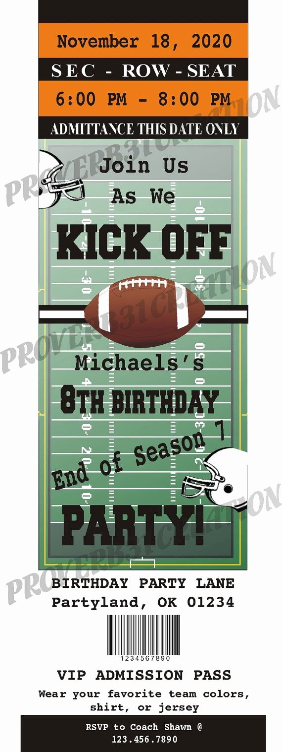 Football Party Invitation Template New Printable Football Ticket Invitation Diy for by