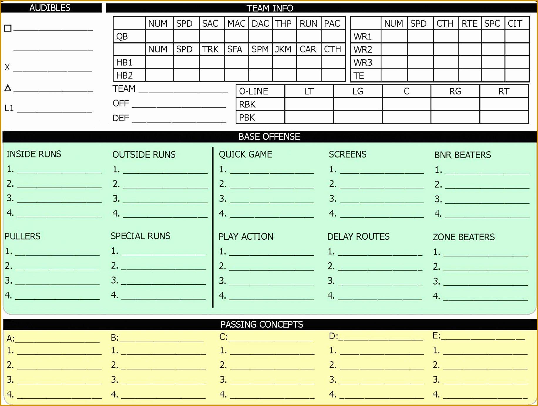 Football Play Call Sheet Template Awesome 5 Fensive Call Sheet Template