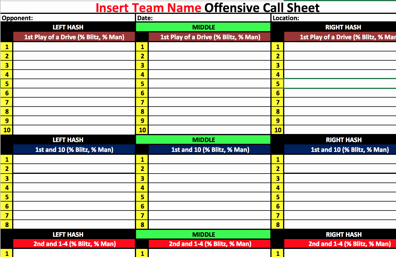 Football Play Call Sheet Template Excel Best Of Coach Vint Four Keys to Fensive organization